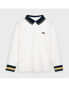 Mayoral Boys Polo Top White Black Collar Long Sleeve Size 2-9 | Baby Boy Shirts 4137 White
