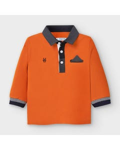 Mayoral Boys Polo Top Orange Black Check Collar Size 6m-36m | Toddler T Shirts 2121 Orange