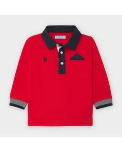 Mayoral Boys Polo Top Red Navy Collar & Trim Size 6m-36m | Baby Shirts 2121 Red