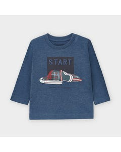 Mayoral Boys Tshirt Blue Start & Running Shoes Print Size 6m-36m | Toddler T Shirts 2045 Blue