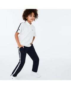 Lacoste Boys Polo Top White Navy Trim Short Sleeve Ribbed Size 1-16 | Baby Polo Shirts PJ1403 White