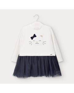 Mayoral Girls Dress White & Navy Knit & Tulle Skirt Size 6m-36m | Infant Dresses 2970 White
