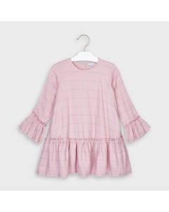 Mayoral Girls Dress Pink & Silver Plaid Bell Sleeve Size 2-9 | Girls Designer Dresses 4973 Pink