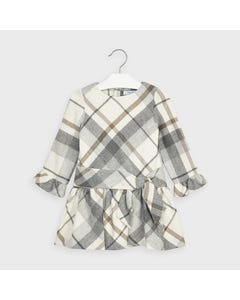 Mayoral Girls Dress White & Grey Lurex Plaid Bell Sleeve Size 2-9 | Baby Girl Dresses 4969 Multi