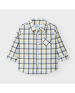 Mayoral Boys Shirt Yellow & Black Check Long Sleeve Size 6m-36m | Infant Shirts 2130 Plaid
