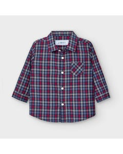 Mayoral Boys Shirt Red & Navy Check Long Sleeve Size 6m-36m | Toddler T Shirts 2130 Check