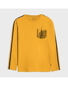 Mayoral Boys Tshirt Yellow Black Cityscape Print Long Sleeve Size 8-18 | Toddler Boy Shirts 7045 Yellow
