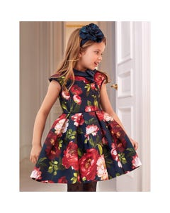 DRESS NAVY RED ROSES PRINT NAVY VELVET COLLAR