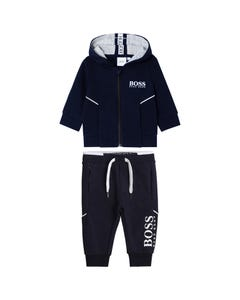 2 PC JOGGING SUIT NAVY HOODED WHITE LOGO