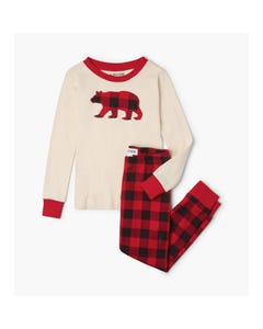 Hatley Boys Pyjama Cream & Red Plaid Pants Bear Applique Size 2-10 | Childrens Pyjamas PJCWIBE326 Beige