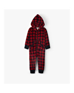 Hatley Unisex Jumpsuit Red & Black Plaid Hooded Fleece Size 2-14 | Childrens Pyjamas US7PLAD002 Plaid
