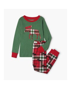 Hatley Boys 2 Pc Pyjama Green & Red Plaid Moose Applique & Pants Size 2-10 | Toddler Pyjamas PJCWIMO209 Green