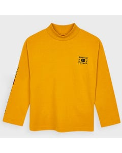 Mayoral Boys Tshirt Yellow Mock Neck Myrl Print Size 2-9 | Boys Designer Shirts 4050 Yellow