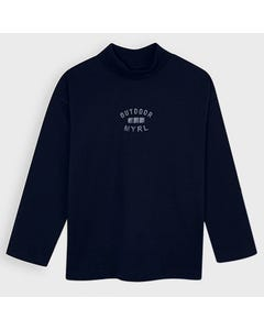 Mayoral Boys Tshirt Navy Mock Neck Outdoor Myrl Print Size 2-9 | Baby Boy Shirts 4050 Navy