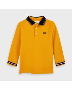 Mayoral Boys Polo Top Yellow Navy Collar Size 2-9 | Boys Shirts 4137 Yellow