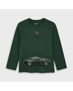 Mayoral Boys Tshirt Green Car Print Long Sleeve Size 2-9 | Boys Designer Shirts 4046 Green