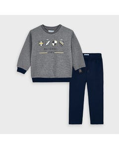 Mayoral Boys 2Pc Top & Pant Set Grey & Navy Knit Mayoral Crests Size 2-9 | 2 Piece Sets For Boys 4813 Grey