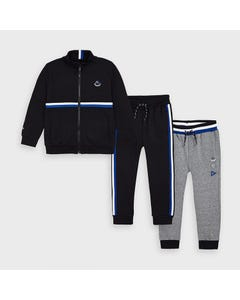 Mayoral Boys 3Pc Tracksuit Black & Grey Pants Size 2-9 | Kids Tracksuits 4815 Black