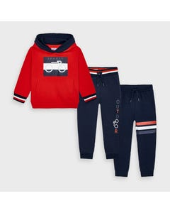 Mayoral Boys 3 Pc Tracksuit Red & Navy Pant Hooded Size 2-9 | Kids Tracksuits 4817 Red