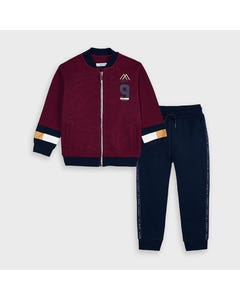 Mayoral Boys 2 Pc Tracksuit Burgundy & Navy Knit Cardigan Size 2-9 | Toddler Tracksuits 4818 Red
