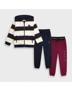 Mayoral Boys 3 Pc Tracksuit Stripe Burgundy Navy Grey Hoodie Size 2-9 | Baby Tracksuits 4821 Red
