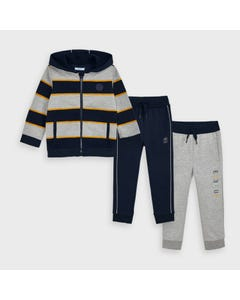 Mayoral Boys 3 Pc Tracksuit Striped Navy & Grey & Yellow Hooded Size 2-9 | Junior Tracksuits 4821 Navy