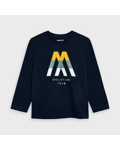 Mayoral Boys Tshirt Navy M Print Evolution Team Size 2-9 | Baby Boy Shirts 4040 Navy
