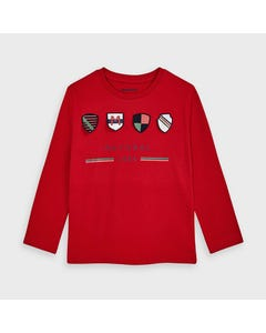Mayoral Boys Tshirt Red Crests Applique Mayoral 1984 Size 2-9 | Boys Shirts 4045 Red