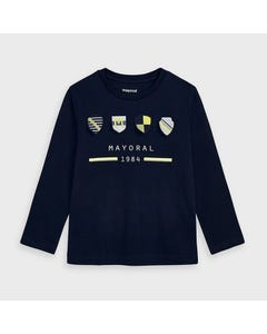 Mayoral Boys Tshirt Navy Crests Applique Mayoral 1984 Size 2-9 | Boys School Shirts 4045 Navy