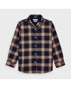 Mayoral Boys Shirt Navy Check Red & Orange Size 2-9 | Baby Boy Shirts 4147 Check
