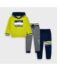 Mayoral Boys 3Pc Tracksuit Green Gray & Navy Pant Hooded Size 2-9 | Tracksuits For Toddlers 4817 Green
