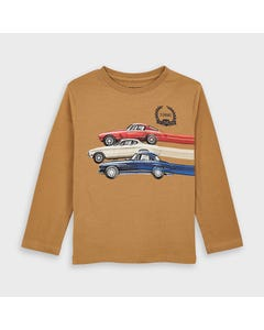 Mayoral Boys T Shirt Brown 3 Car Print Long Sleeve Size 2-9 | Boys Shirts 4038 Brown