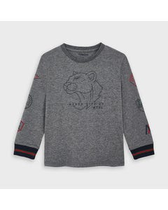 Mayoral Boys Tshirt Grey Tiger Face Long Sleeve Size 2-9 | Boys Shirts 4044 Grey
