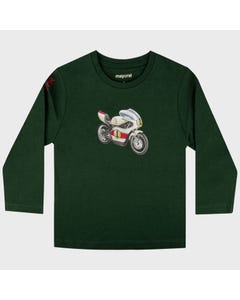 Mayoral Boys T Shirt Green Motorcycle Print Long Sleeve Size 2-9 | Toddler Boy Shirts 4047 Green
