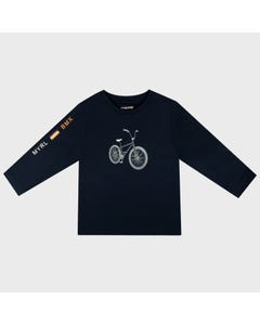 Mayoral Boys T Shirt Navy Bicycle Print Grey Size 2-9 | Boys Shirts 4047 Navy