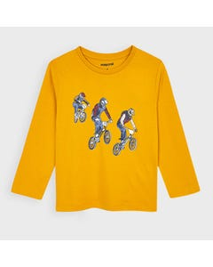 Mayoral Boys Tshirt Yellow 3 Cyclists Print Size 2-9 | Toddler Boy Shirts 4047 Yellow