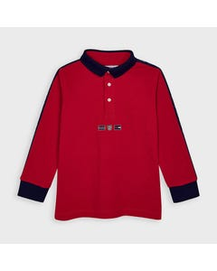 Mayoral Boys Polo Top Red Navy Collar & Trim Size 2-9 | Toddler Boy Shirts 4130 Red