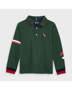 Mayoral Boys Polo Top Green Red & Navy Trim 8 Size 2-9 | Boys School Shirts 4134 Green
