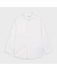 Mayoral Boys Shirt White Red & Blue Print Long Sleeve Size 2-9 | Boys Shirts 4143 White