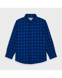 Mayoral Boys Shirt Blue Check Slim Fit Flannel Size 2-9 | Boys Designer Shirts 4144 Check
