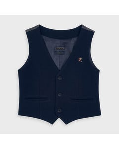 Mayoral Boys Vest Navy 3 Button Closure Vest Pocket Size 2-9 | Kids Formal Clothing 4335 Navy
