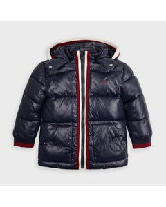 Mayoral Boys Jacket Navy Hooded Winter Red Trim Size 2-9 | Kids Coats 4478 Navy