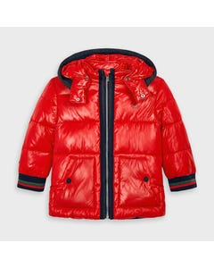 Mayoral Boys Jacket Red Hooded Winter Navy Trim Size 2-9 | Baby Coats 4478 Red