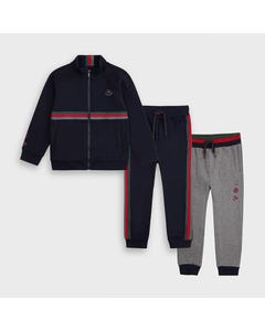 Mayoral Boys 3 Pc Tracksuit Navy Grey & Navy Pant Stripe Trim Size 2-9 | Baby Tracksuits 1815 Navy