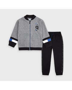 Mayoral Boys 2 Pc Tracksuit Grey & Black Zip Closure Size 2-9 | Junior Tracksuits 4818 Grey
