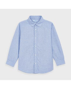 Mayoral Boys Shirt Light Blue Printed Long Sleeve Size 2-9 | Boys Shirts 4143 Blue