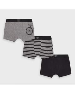 Mayoral Boys 3 Pc Boxer Set Black & Grey Size 2-16 | Toddlers Underwear 10855 Grey