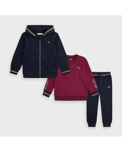 Mayoral Boys 3 Pc Tracksuit Navy & Burgundy 2 Tops 1 Pant Size 2-9 | Kids Tracksuits 4819 Navy