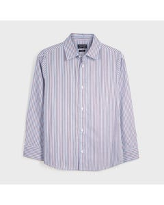 Mayoral Boys Shirt Blue Red Stripe Slim Fit Oxford Size 8-18 | Junior Formal Wear 7130 Blue