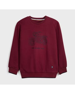 Mayoral Boys Pullover Top Burgundy Embroidered Motorcycle Size 8-18 | Boys Sweaters 7461 Red